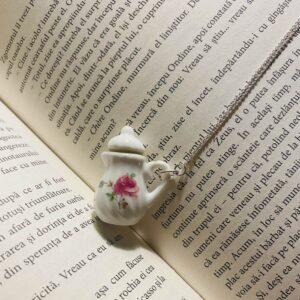 Colier argint - Ceainic trandafir