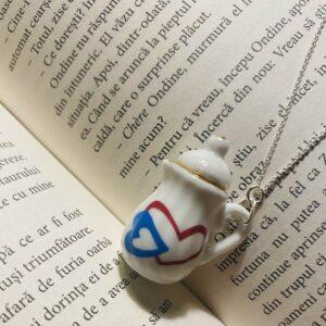 Colier argint - Ceainic inimi