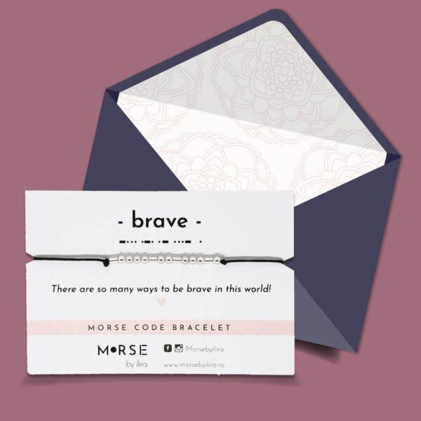 Bratara Cod Morse Brave argint