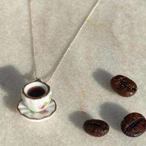 Colier Argint Ceașcă Cafea model floral