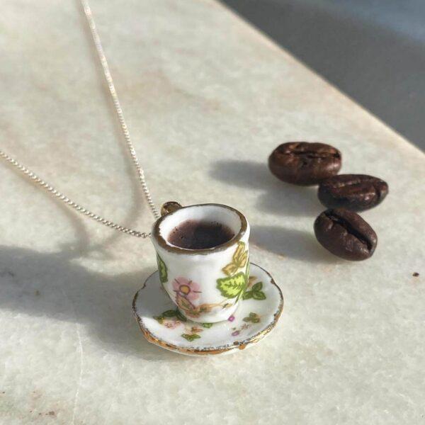 Colier Argint Ceașcă verde cu Cafea