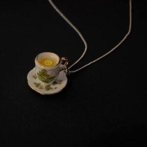 Colier Argint Ceașcă verde cu Ceai