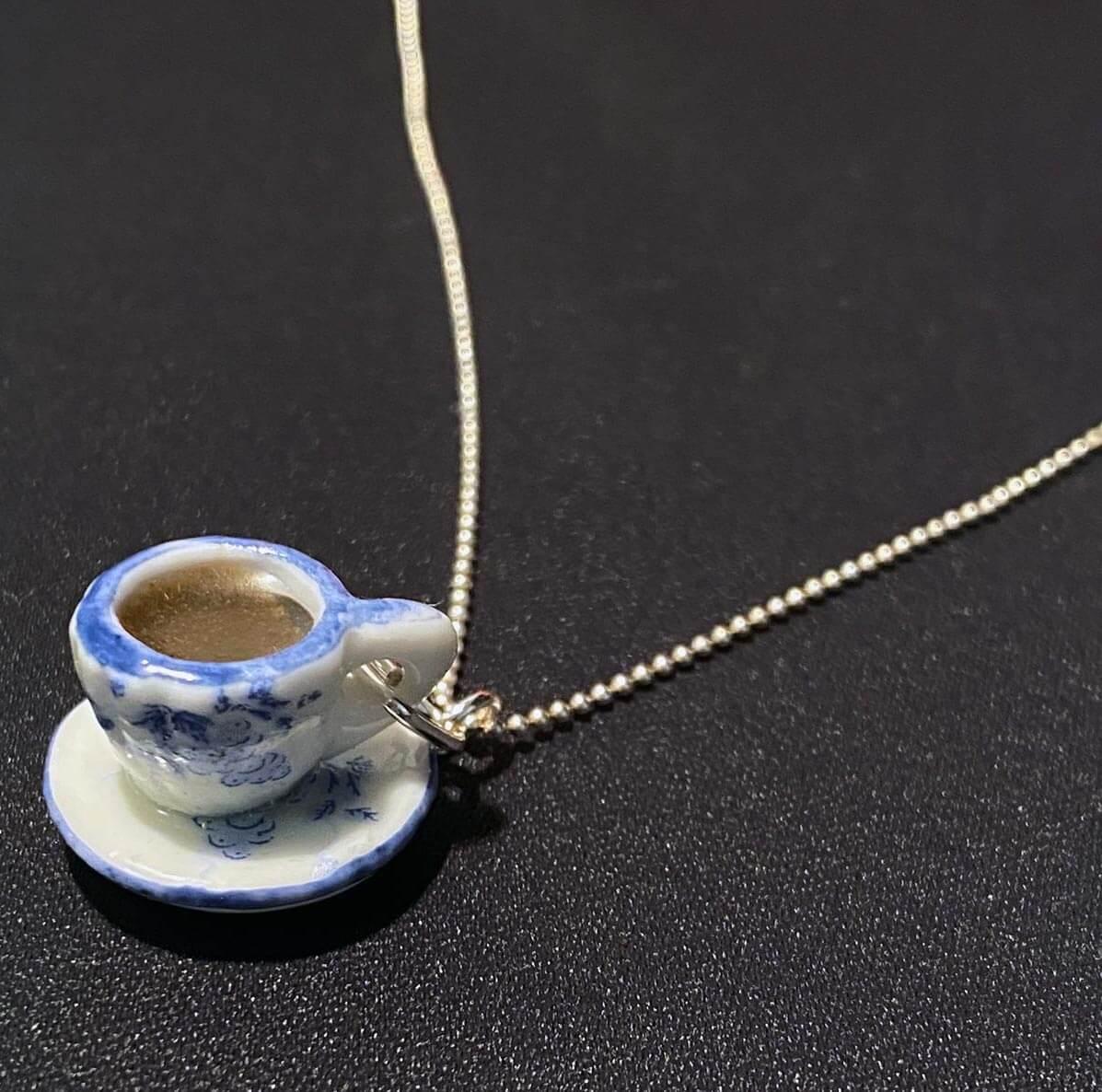 Colier Argint Ceașcă albastra cu Cafea