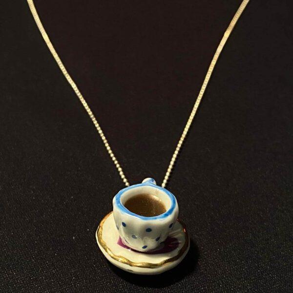 Colier Argint Ceașcă Cafea model buline